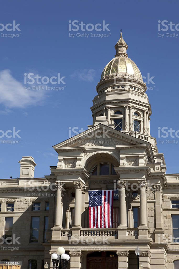 Wyoming State Capitol Building in Cheyenne vertical royalty-free stock photo