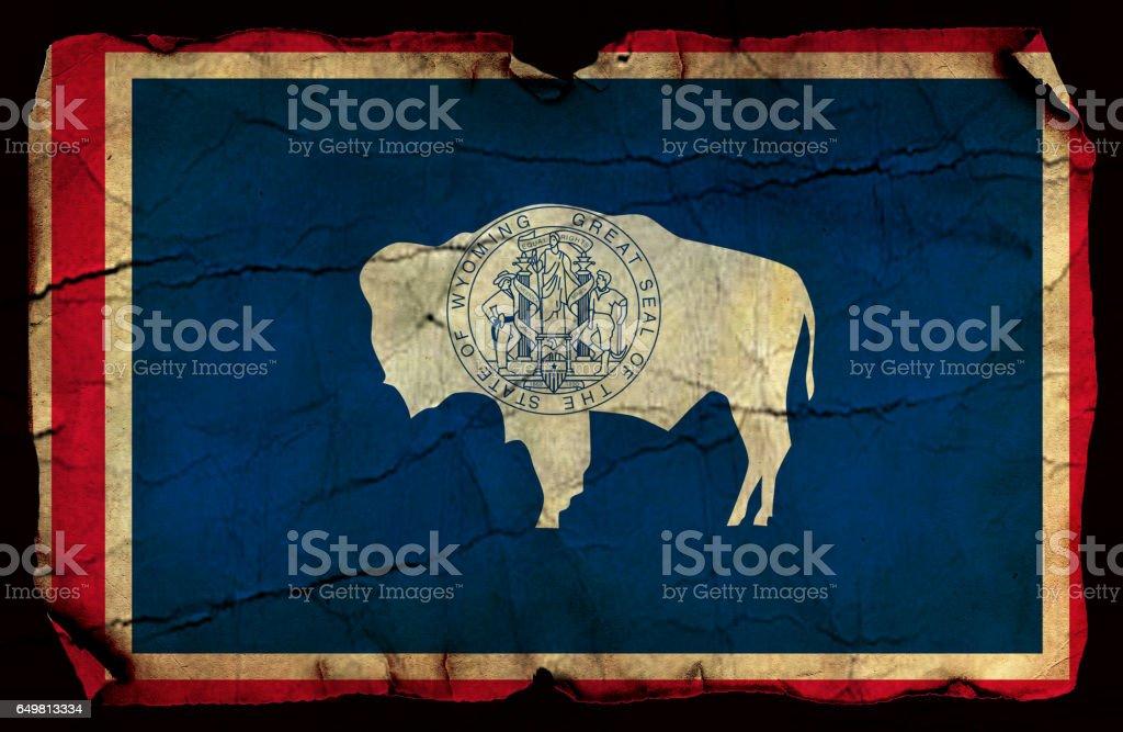 Wyoming State grunge flag stock photo