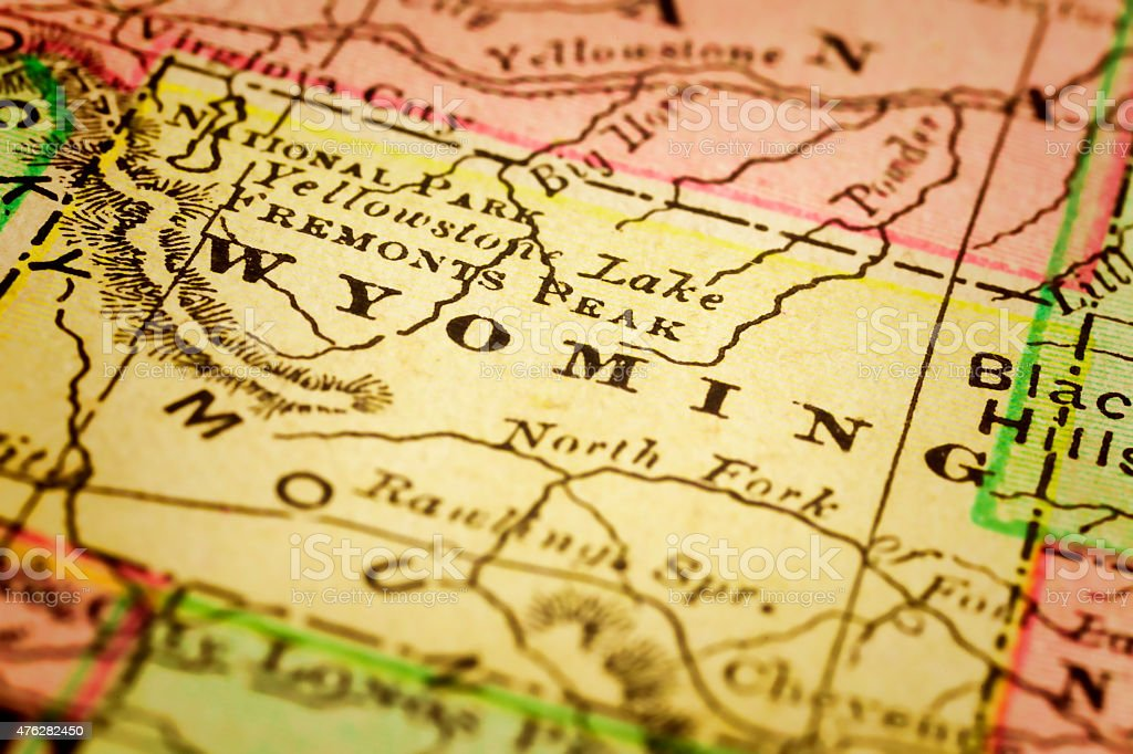 Wyoming State on an Antique map stock photo