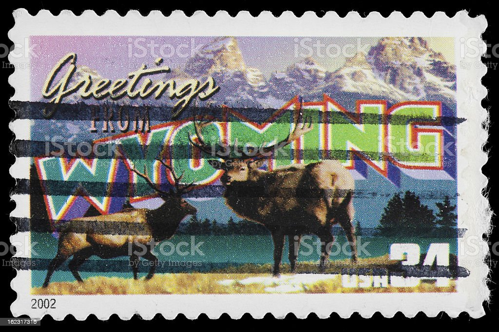 Wyoming State Postage Stamp GREETINGS FROM AMERICA Retro Postcard Theme stock photo