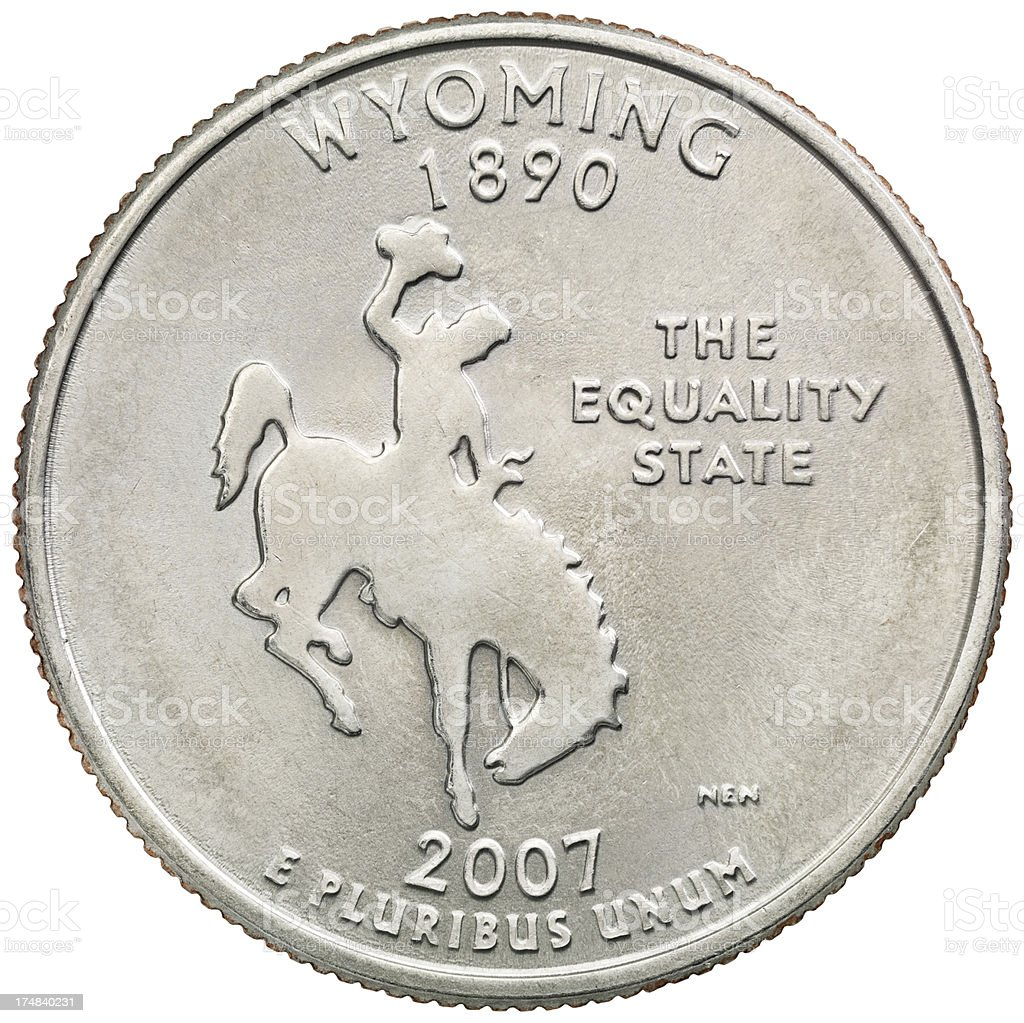 Wyoming State Quarter Coin stock photo