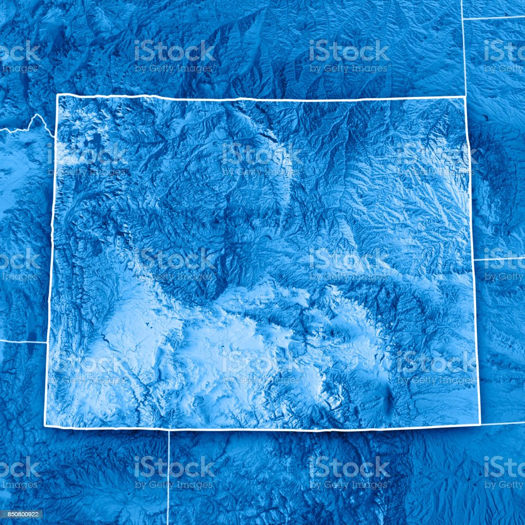 Wyoming State USA 3D Render Topographic Map Blue Border stock photo