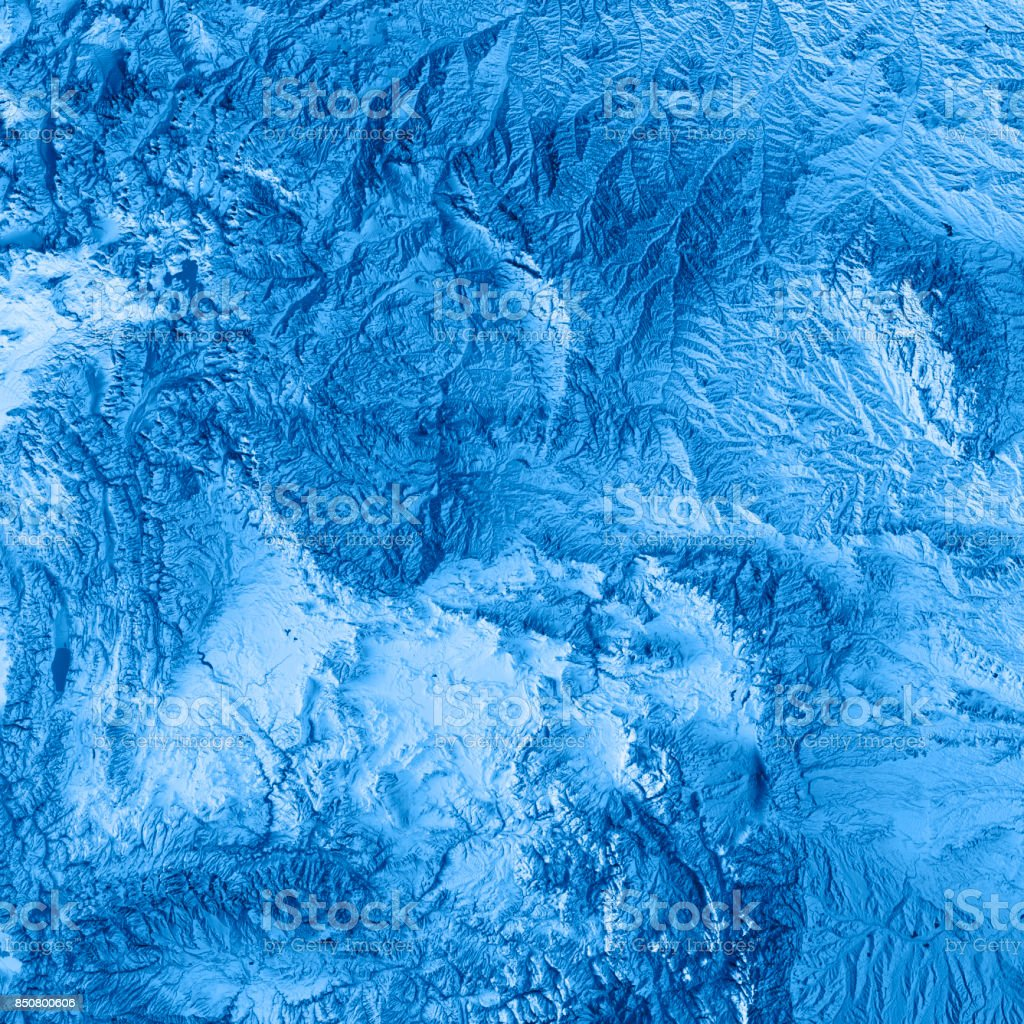 Wyoming State USA 3D Render Topographic Map Blue stock photo