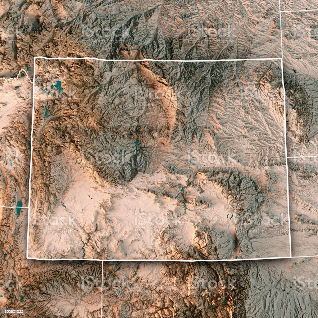 Wyoming State USA 3D Render Topographic Map Neutral Border stock photo