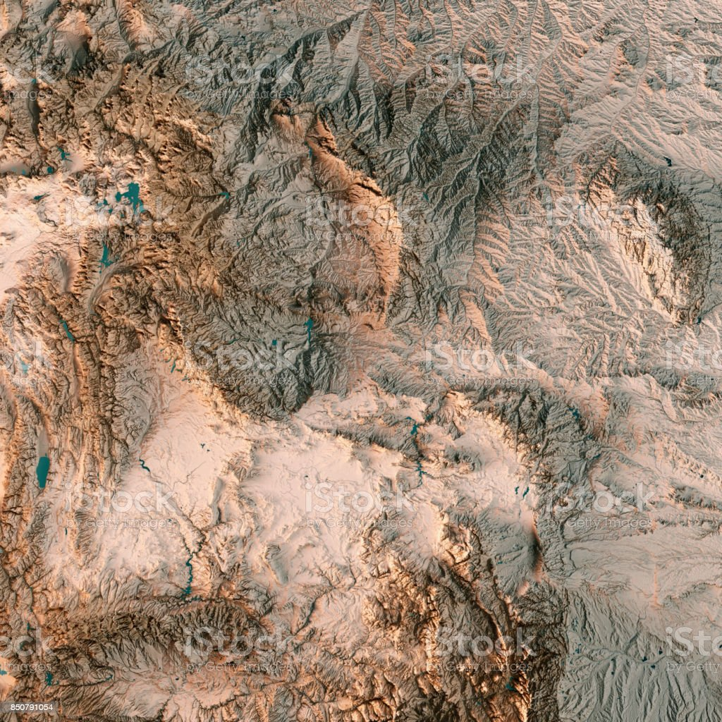 Wyoming State USA 3D Render Topographic Map Neutral stock photo