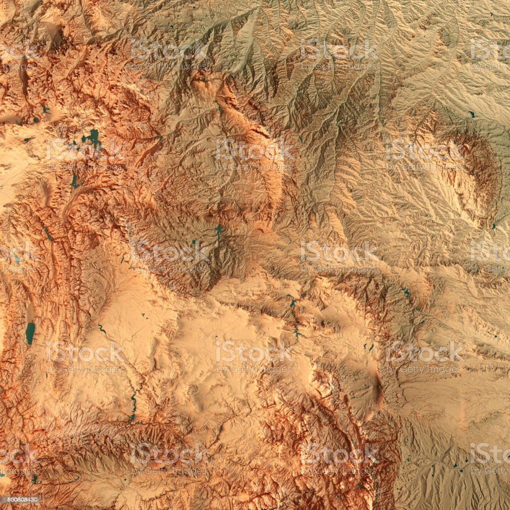 Wyoming State USA 3D Render Topographic Map stock photo