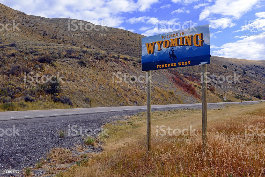 Wyoming State Welcome Road sign on interstate stock photo