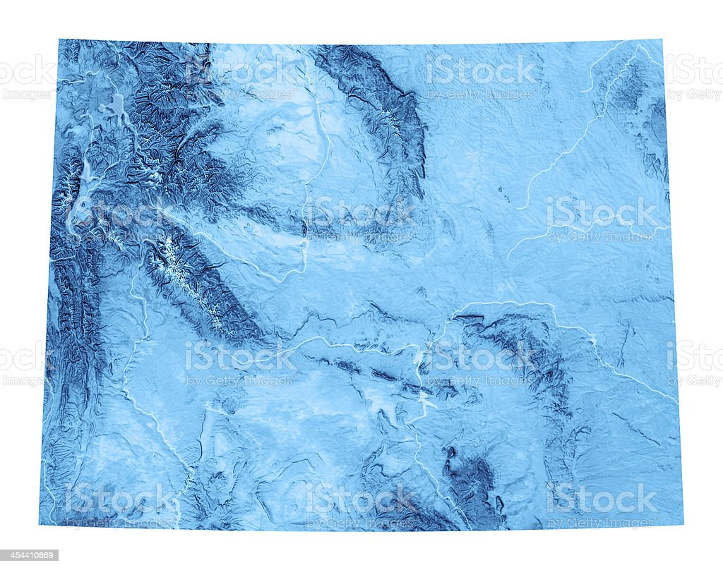 Wyoming Topographic Map Isolated stock photo