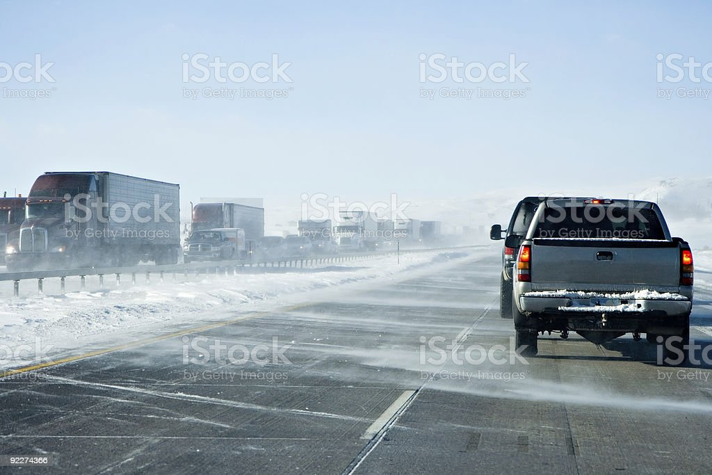 Wyoming Winter Traffic Jam royalty-free stock photo