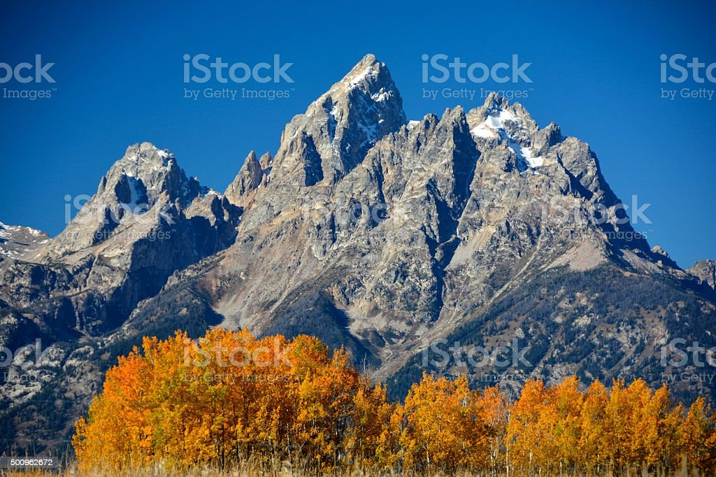 Wyomings Grand Teton Mountains in the Fall stock photo