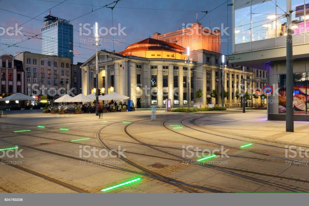 Wyspianski Theatre on the central square of the Katowice, Poland stock photo