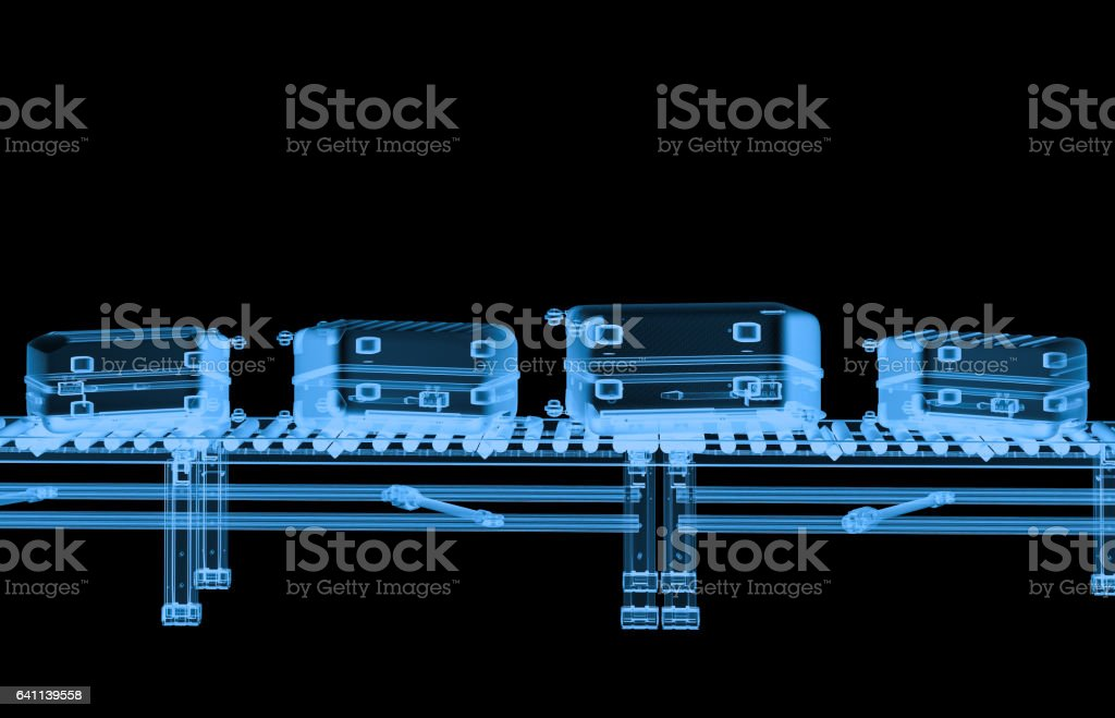 x ray conveyor belt with luggages stock photo