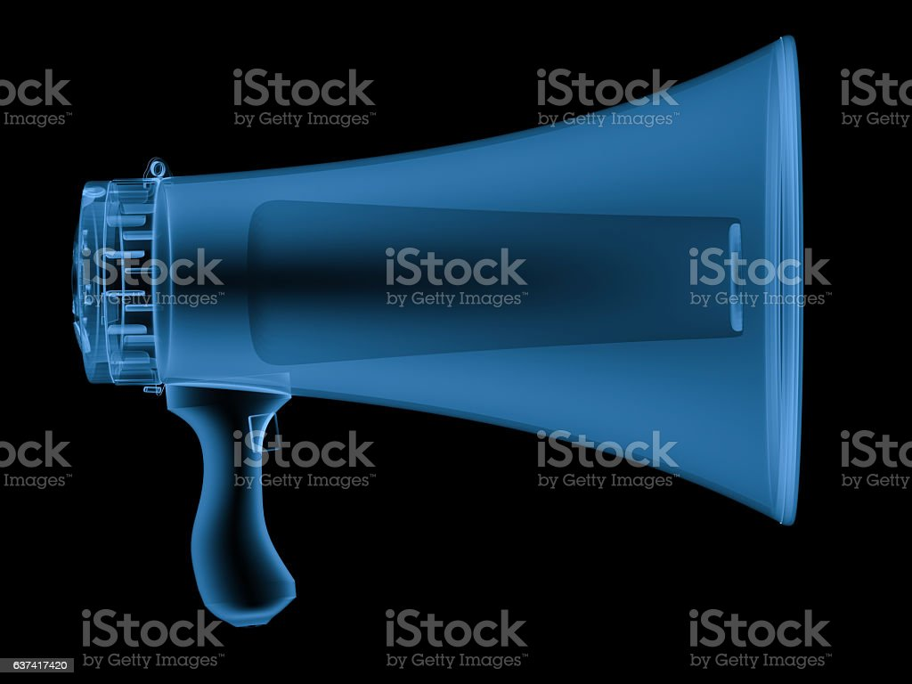 x ray megaphone isolated on black stock photo