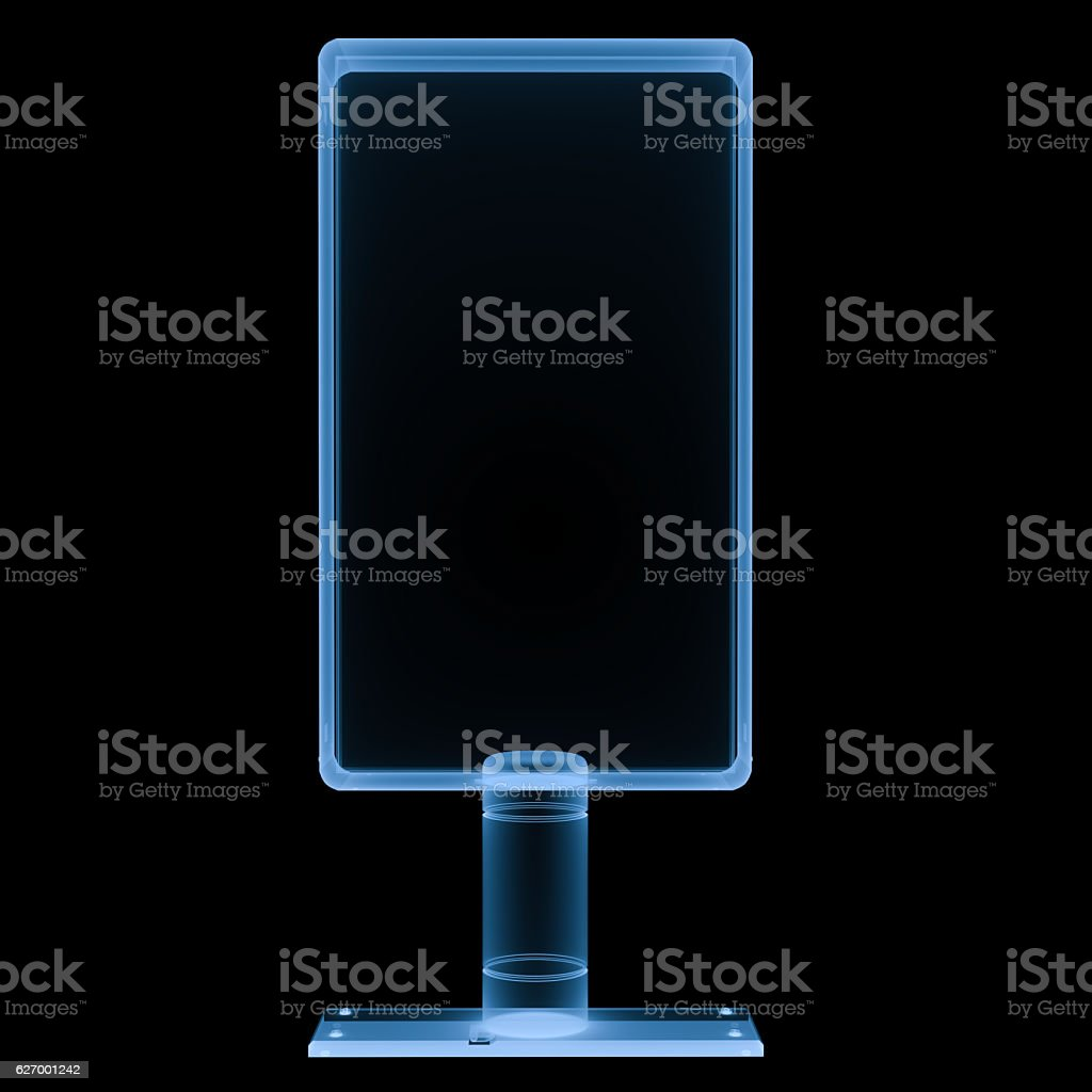 x ray vertical billboard isolated on black stock photo