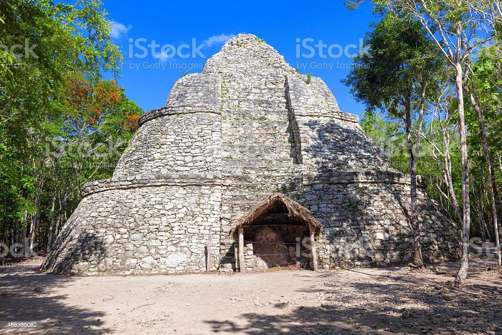 Xaibe, Mayan pyramid surrounded by jungle stock photo