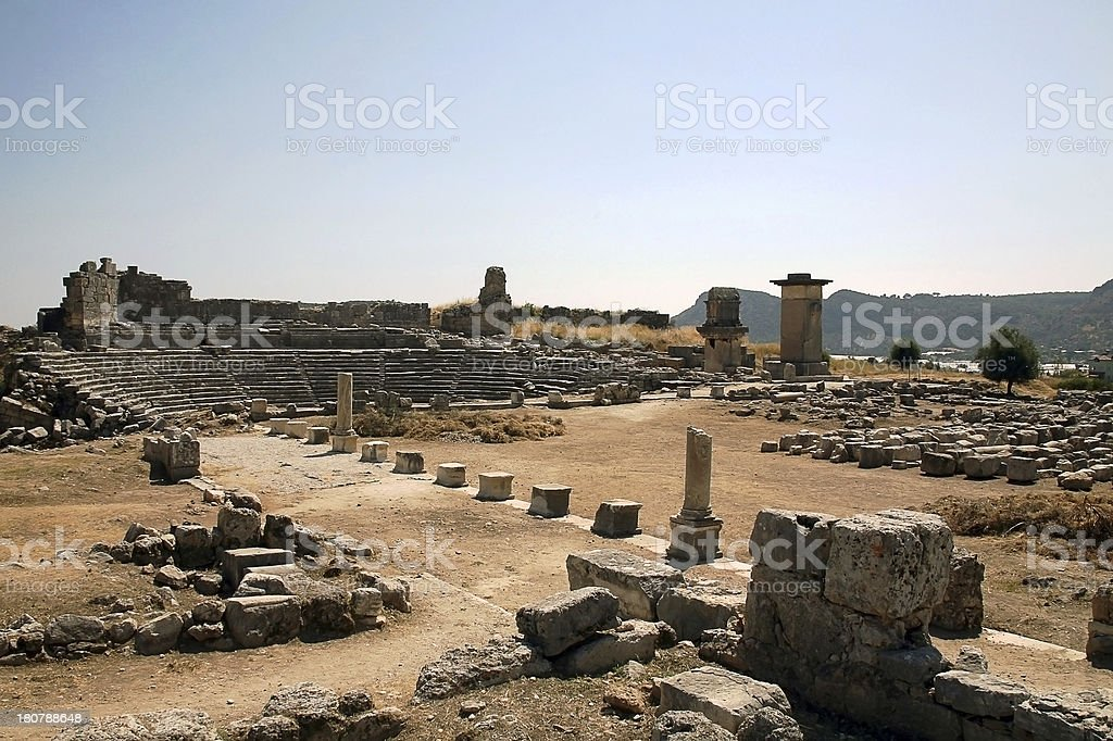 xanthos harpy tower amphitheater turkey royalty-free stock photo