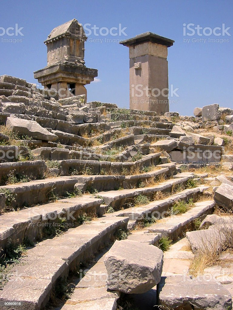xanthos harpy tower amphitheater turkey royalty-free stock photo