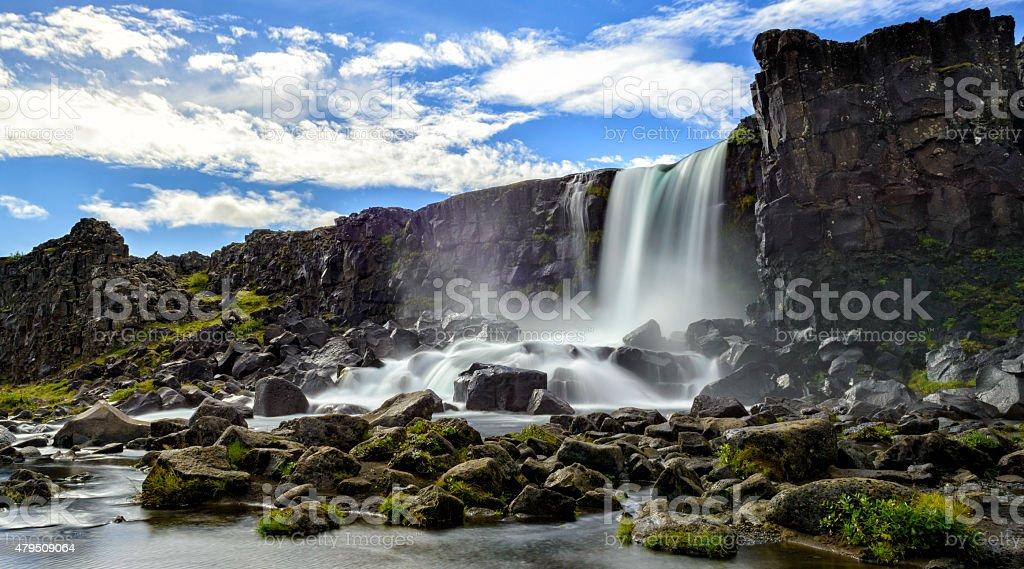 Öxarárfoss waterfall in Thingvellir National Park, Iceland. stock photo