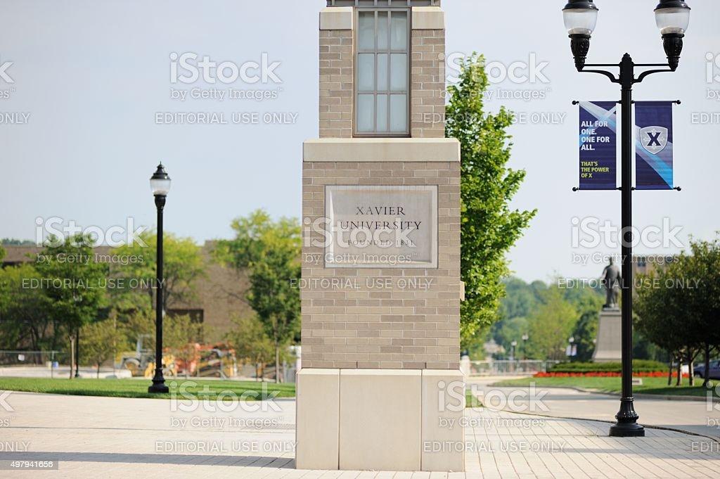 Xavier University sign near entrance stock photo
