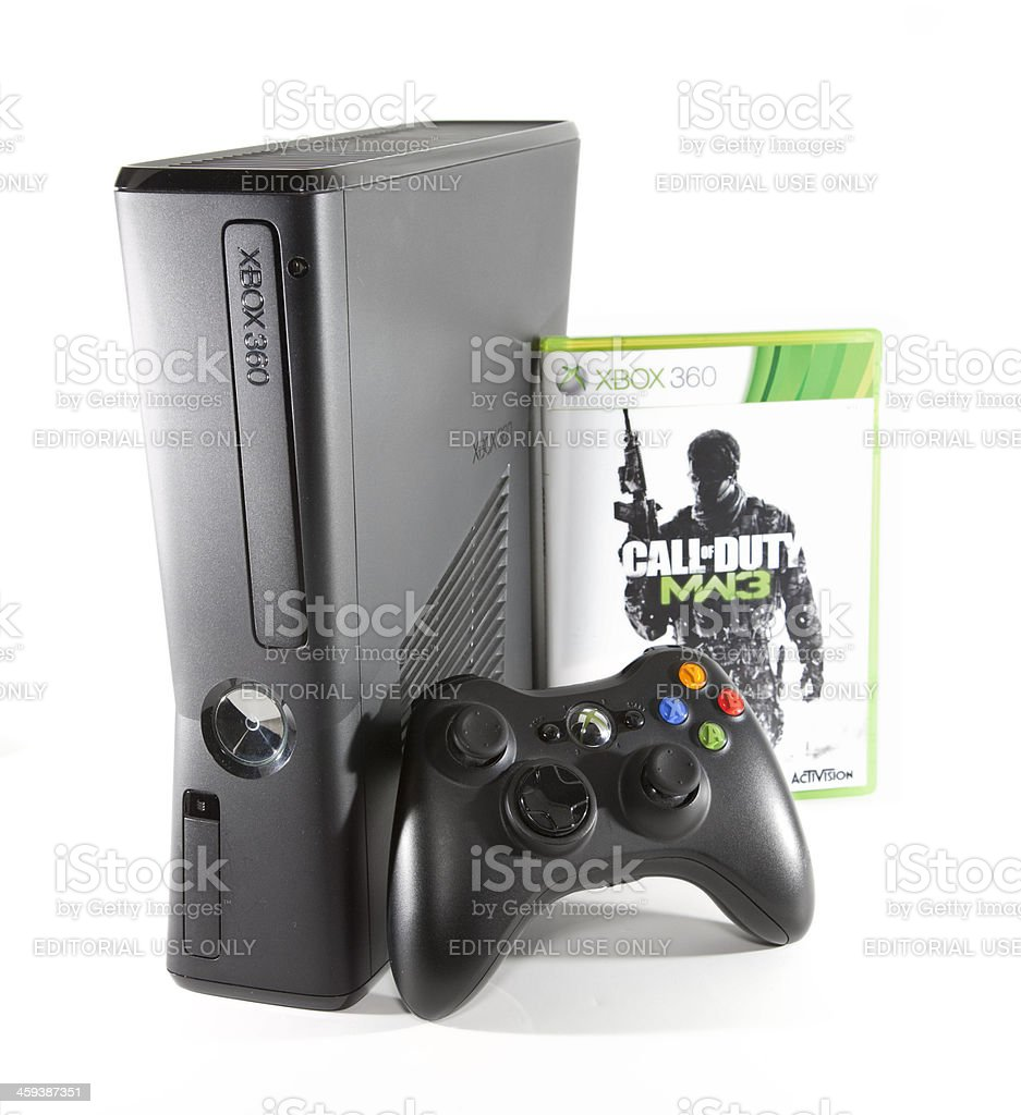 Xbox 360 with Call of Duty royalty-free stock photo