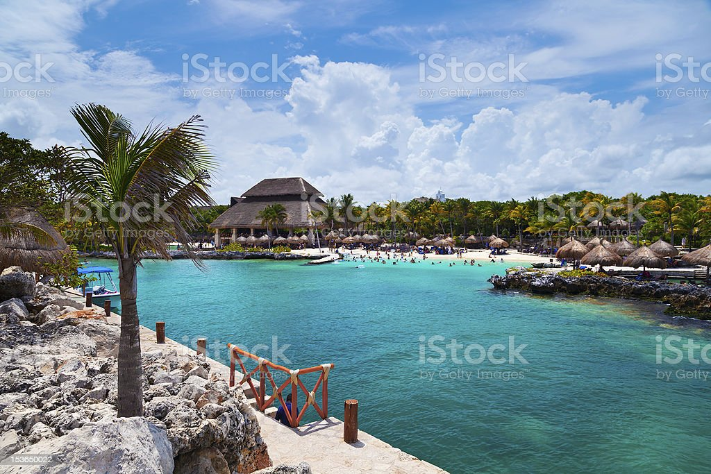 Xcaret Beach in the Mayan Riviera stock photo