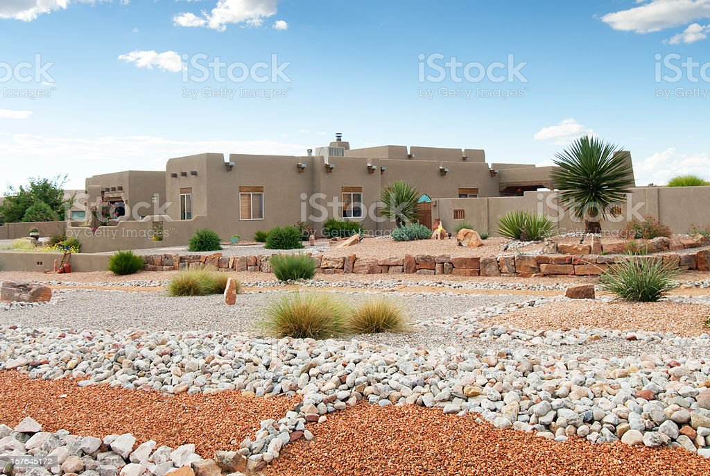 Xeriscaped Southwestern Home stock photo