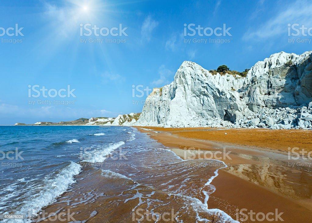 Xi Beach sunshiny view (Greece, Kefalonia). stock photo
