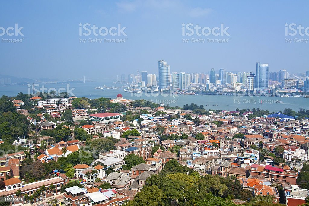 Xiamen aerial view from Gulang-yu Island, China stock photo