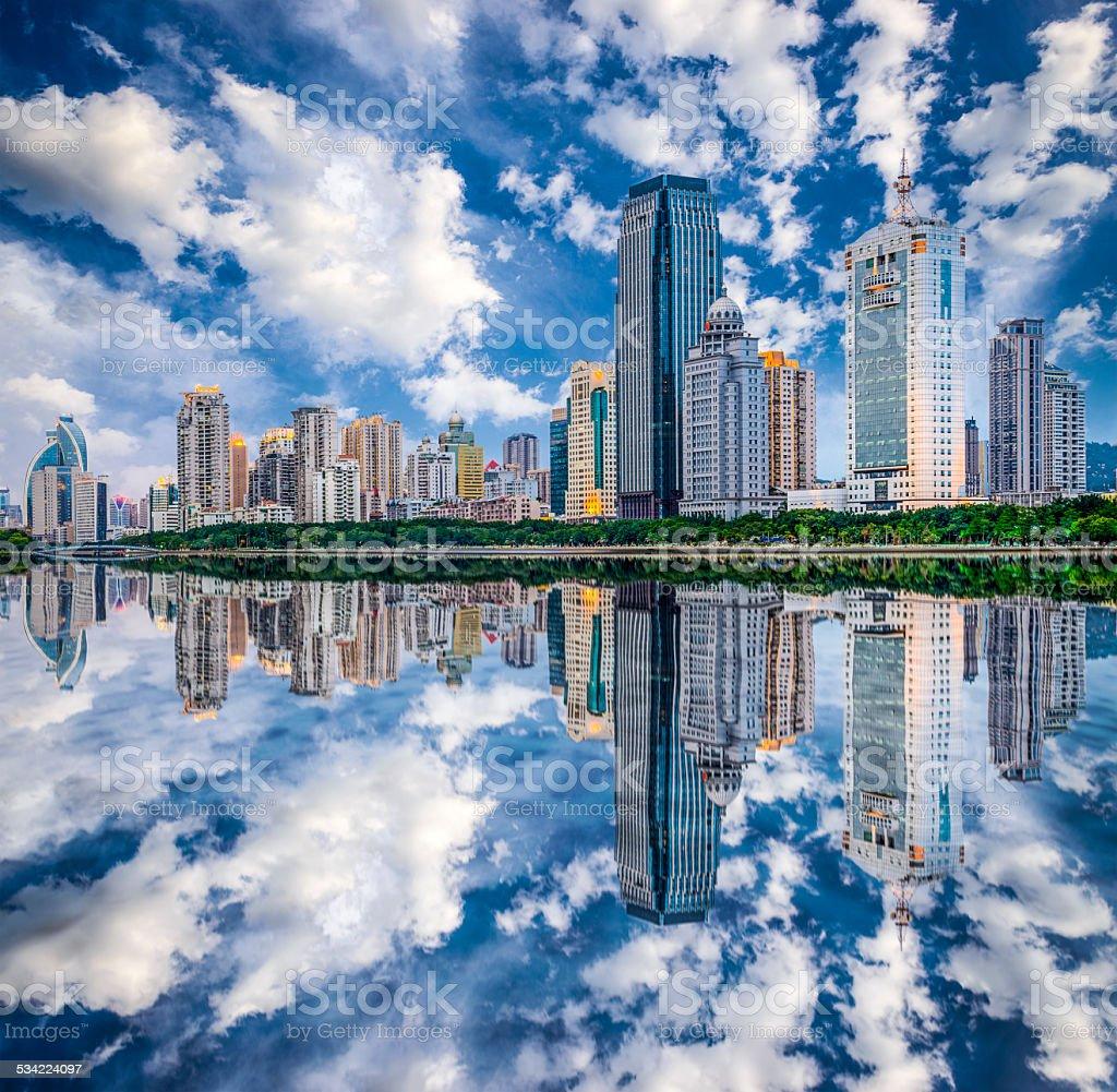 Xiamen, China City Skyline stock photo