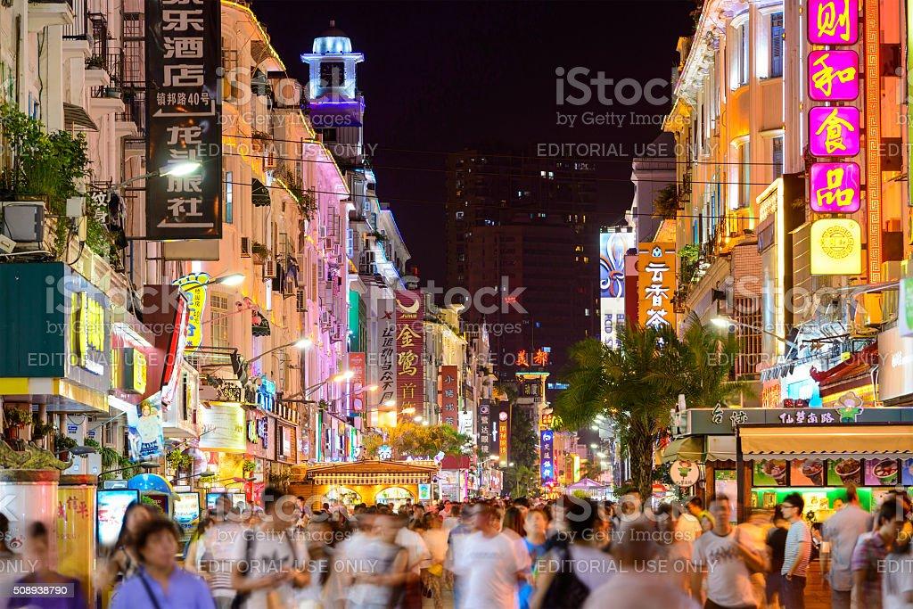 Xiamen China Nightlife stock photo