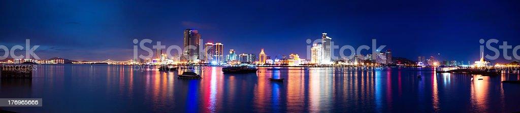Xiamen island night scape panoramic view,fujian province,china stock photo