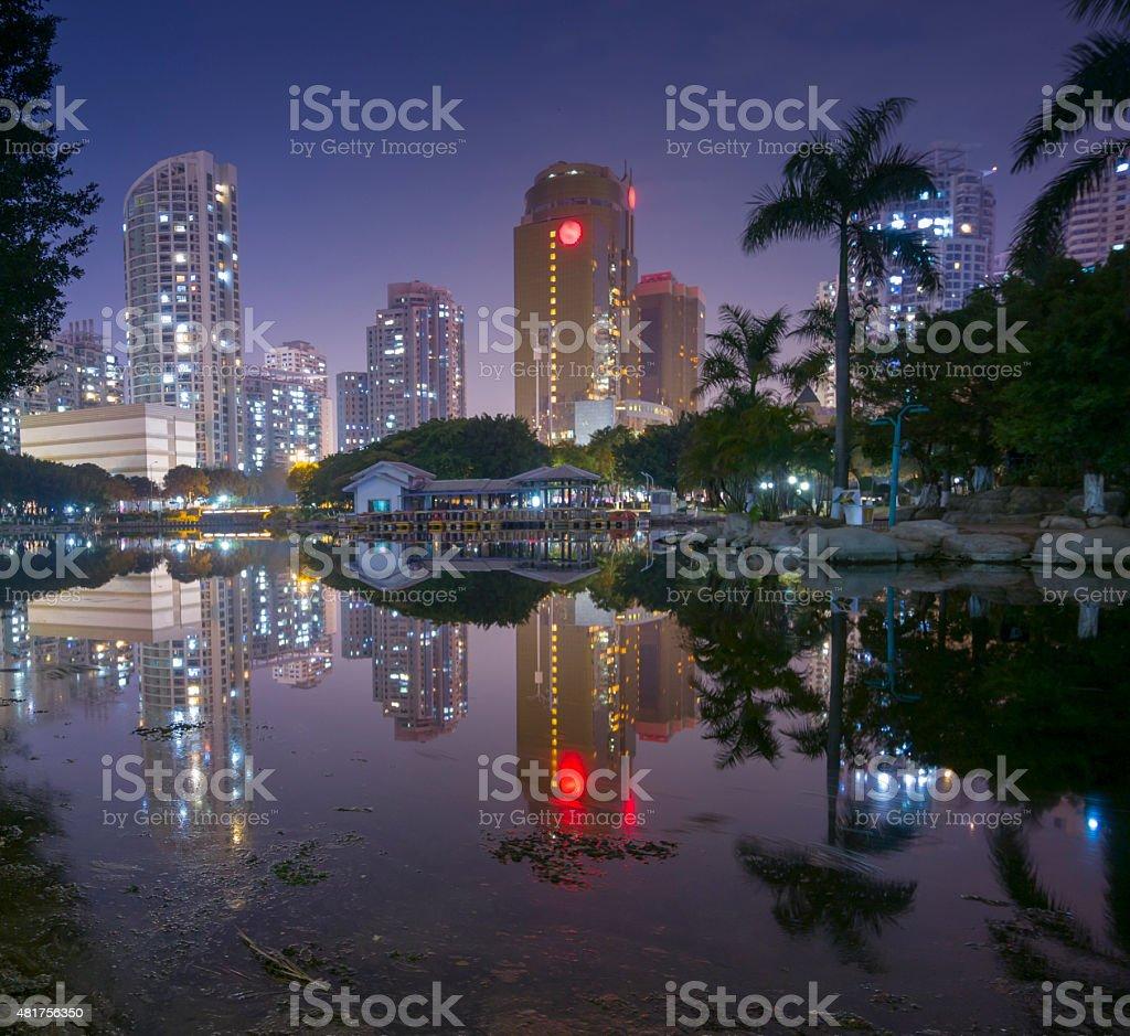 Xiamen jiangtou park at night stock photo
