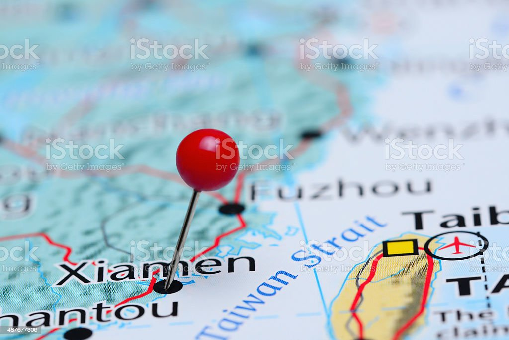 Xiamen pinned on a map of Asia stock photo