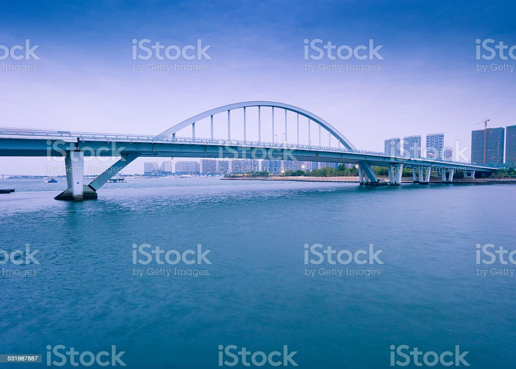 Xiamen TianYuan bridge at dusk stock photo