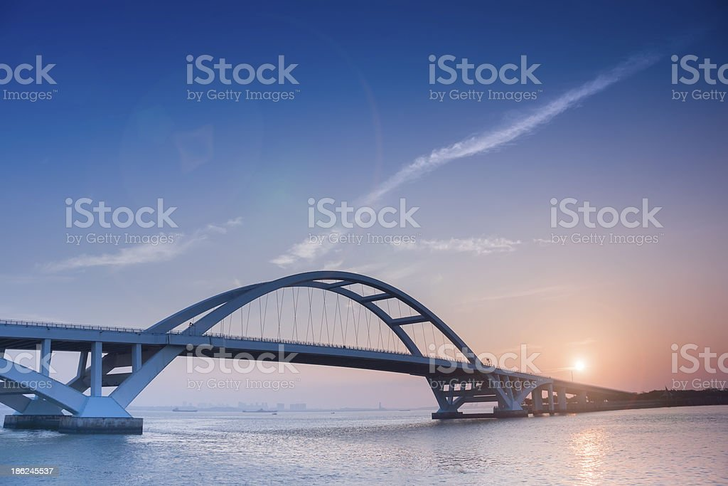 Xiamen wuyuan bridge and sunrise stock photo