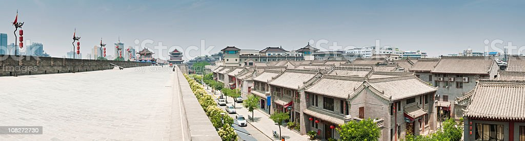 Xi'an ancient city walls modern downtown cityscape stock photo