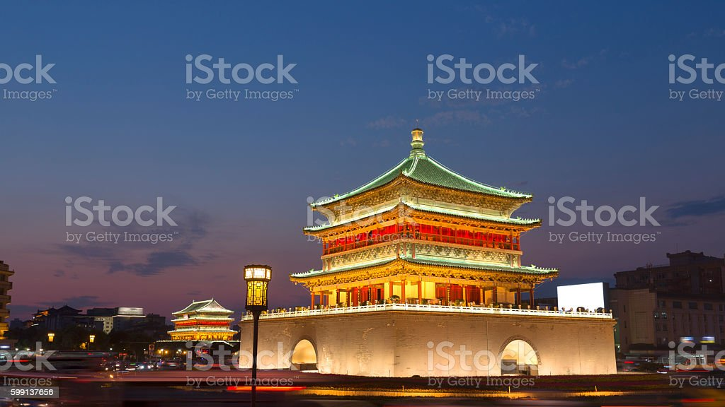 Xi'an city traffic, light trails stock photo