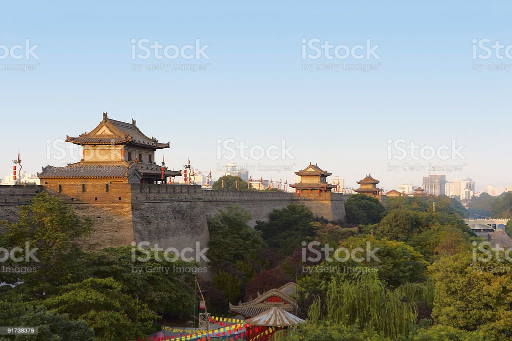 Xi'an city wall, China stock photo