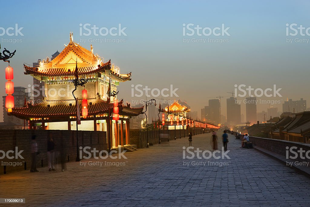 Xian City wall stock photo