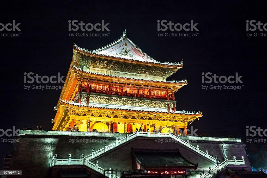 Xian drum tower stock photo