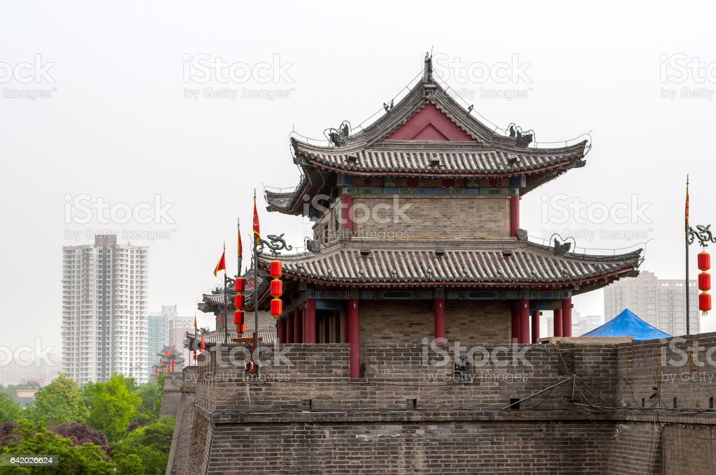 Xi'an, fortification wall with a watchtower. stock photo