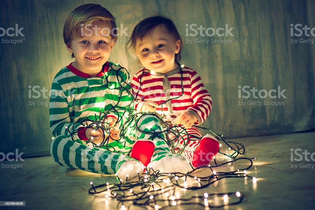 Xmas brother and sister stock photo