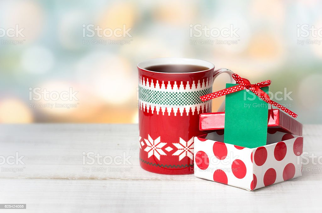 Xmas christmas holiday background mug present box tag. stock photo