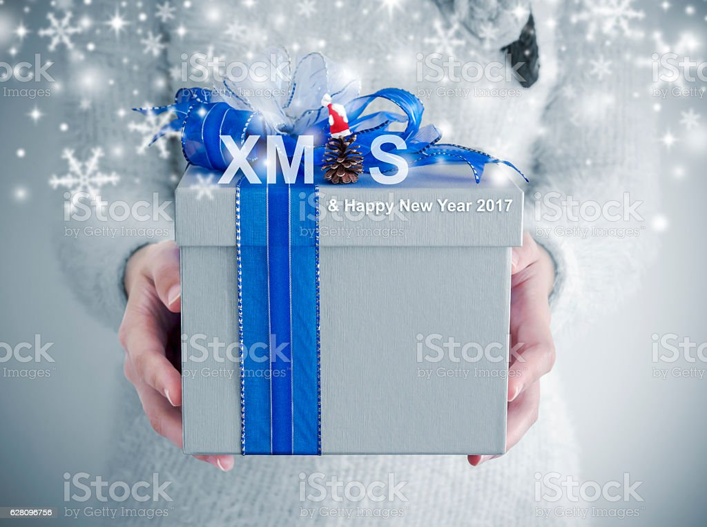 Xmas concept of Young woman hands holding silver gift box stock photo