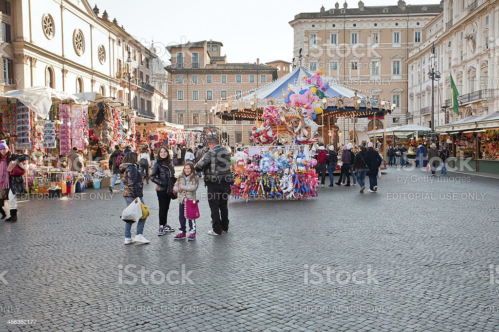 Xmas fair on piazza Navona in Rome royalty-free stock photo