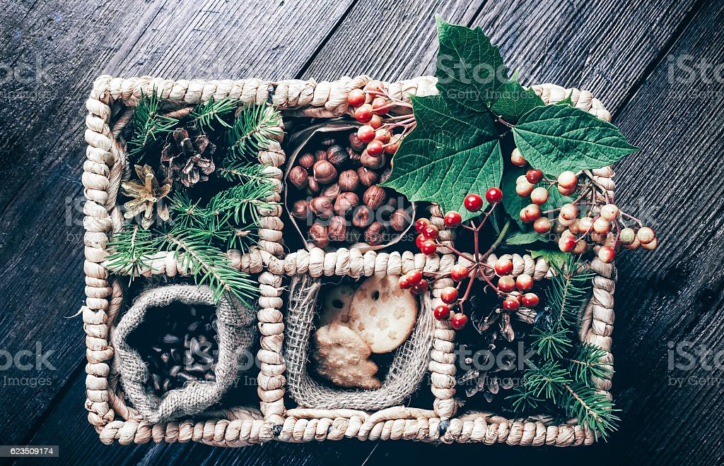 Xmas gifts in the basket stock photo