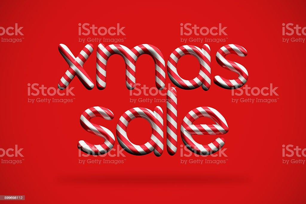 Xmas sale festive candy cane message stock photo