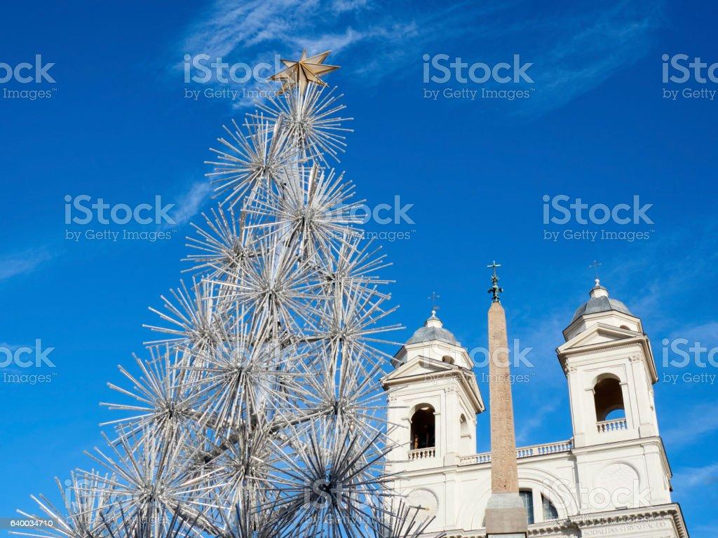 xmas tree Rome Italy christmas time stock photo