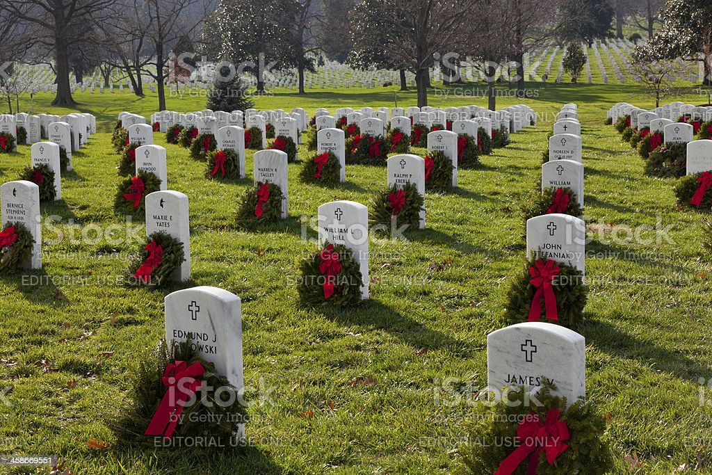 Xmas wreaths in Arlington Cemetery stock photo