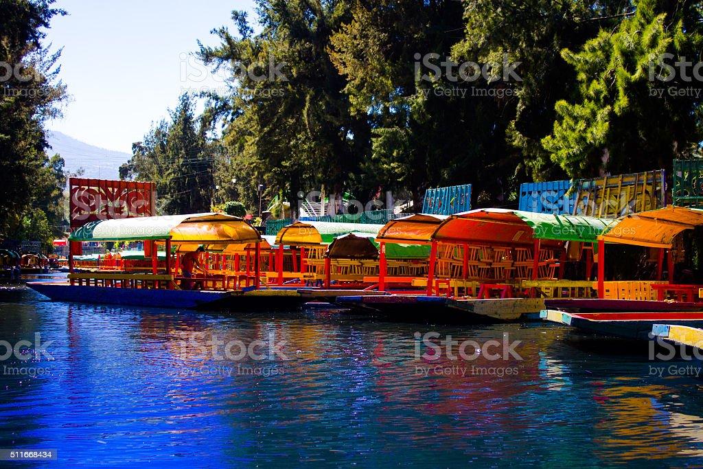 Xochimilco's lake stock photo